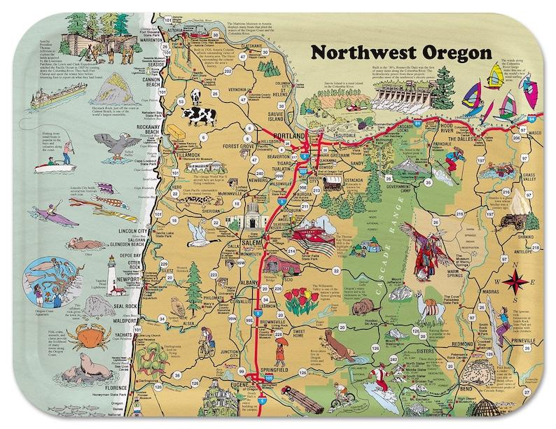 Northwest Oregon Illustrated Serving Tray image 0