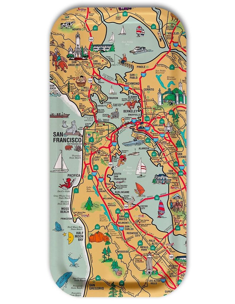 San Francisco Illustrated Map Tray  Decorative Tray  5x11 image 0