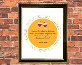 DIGITAL Hilaire Belloc printable, pdf, poetry quote, catholic art, red wine, friendship, sun, housewarming