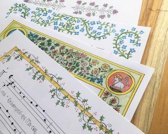DIGITAL Marian Antiphons print set, Latin, gregorian chant, hymns, catholic, prayers, devotion, antiphon, art, christmas, easter, lent, gift