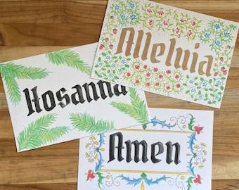 Prayer Cards - Amen, Alleluia, Hosanna | Catholic, Catechesis of the Good Shepherd, atrium, art, Easter, children, medieval illumination