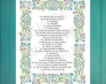 St. Francis Prayer in Praise of God print, catholic art, medieval, calligraphy, illumination, watercolor,