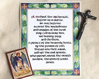 St. Michael Prayer print, archangel, catholic, traditional, christian, medieval, calligraphy, hand lettering