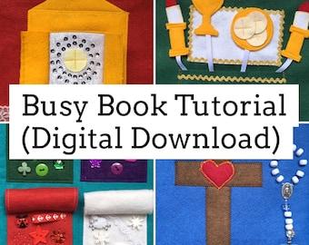 DIGITAL Busy Book Tutorial, Mass quiet book, felt book, interactive, sensory play, catholic, church, activity, kids, DIY