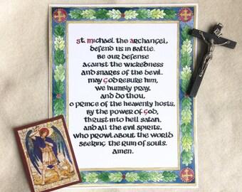 DIGITAL St. Michael Prayer printable, catholic art, medieval, calligraphy, illumination, watercolor, spiritual warfare