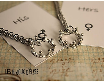 a4145e8426 Set of 2 Couple Her King His Queen Necklaces His and Hers Necklaces  Boyfriend and Girlfriend Necklaces - Stainless Steel (CO82)