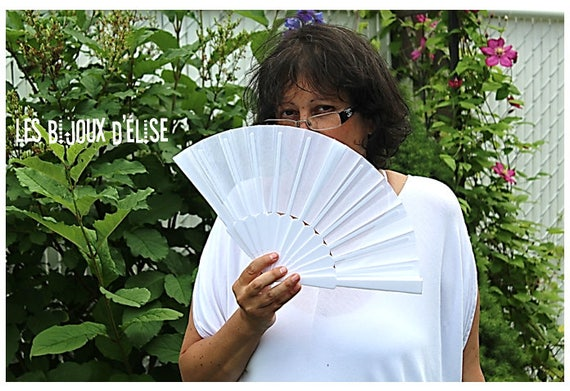 White FAbric Fan Beige Bamboo Wood Fan  Bridal Wedding Accesory Costume Fan Gothic Fan Vintage Look (FAN03-FAN02)