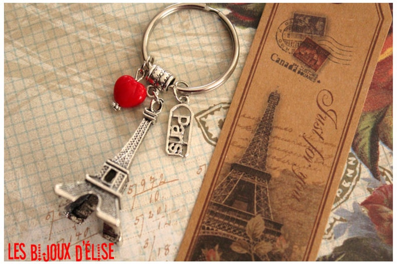 Love Paris Keychain Eiffel Tower Keychain Paris Keychain and Bookmark  Distance Relation Keychain (KC03)