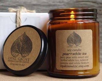 Opal Grove 9oz. pear+white tea soy candle