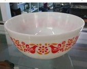 On Sale Rare Pyrex, Friendship Pattern 403, 2.5 Quart Mixing Bowl, White with Red and Orange Flowers and Red Birds