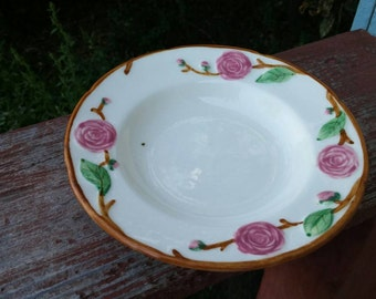 Vintage Metlox Provincial Pink Color Collectible Ceramic Ribbed Style Large Bowl Made In California #1279