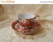On Sale Imari Peacock by ARITA, Tea Cup and Saucer , Coupe Style, Made in Japan, Red and White Dish
