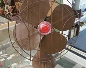 On Sale Working Handy Breeze, Chocolate Brown and Red Electric, 13 inch Fan, Rustic Farmhouse Style Appliance