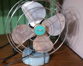 On Sale Retro, Working Zero, Baby Blue and Silver Toned Electric Fan, Rustic Farmhouse Style Appliance