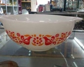 On Sale Rare Pyrex, Friendship Pattern 443, 2.5 Quart Mixing Bowl Cinderella Style, White with Red and Orange Flowers and Red Birds
