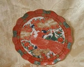 On Sale Imari Peacock by ARITA, 7.25 inch Coupe Salad Plate, Made in Japan, Red and White Dish
