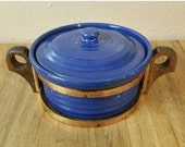 On Sale Unmarked Garden City Pottery Cobalt Blue Round Casserole Dish or Bean Pot with Brass and Wood Handle