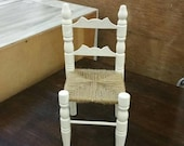 On Sale Small White Wood and Brown Twine, Ladder Back, Doll Chair, Vintage Doll Display or Older Child Toy