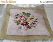 On Sale Beautiful Handmade Floral Tapestry with Pink Yellow Red and Purple Flowers ready to go for a footstool chair or pillow