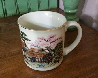 6073dfeafc8 On Sale Rare Find, Made in Japan, Gold Toned Enamel Coffee Mug with Chinese  Farmhouse Scene with Waterwheel Design