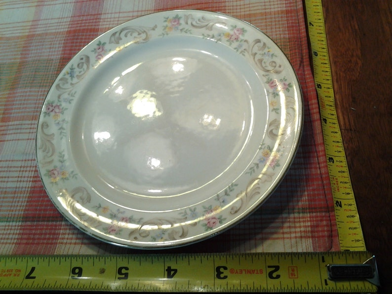 On Sale Collectible China Paden City Pottery 7 inch Salad Plate Pink and White