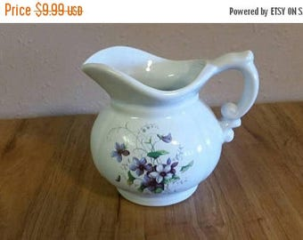 On Sale McCoy Pottery White Serving Pitcher with Purple Flower Design Collectible Kitchen