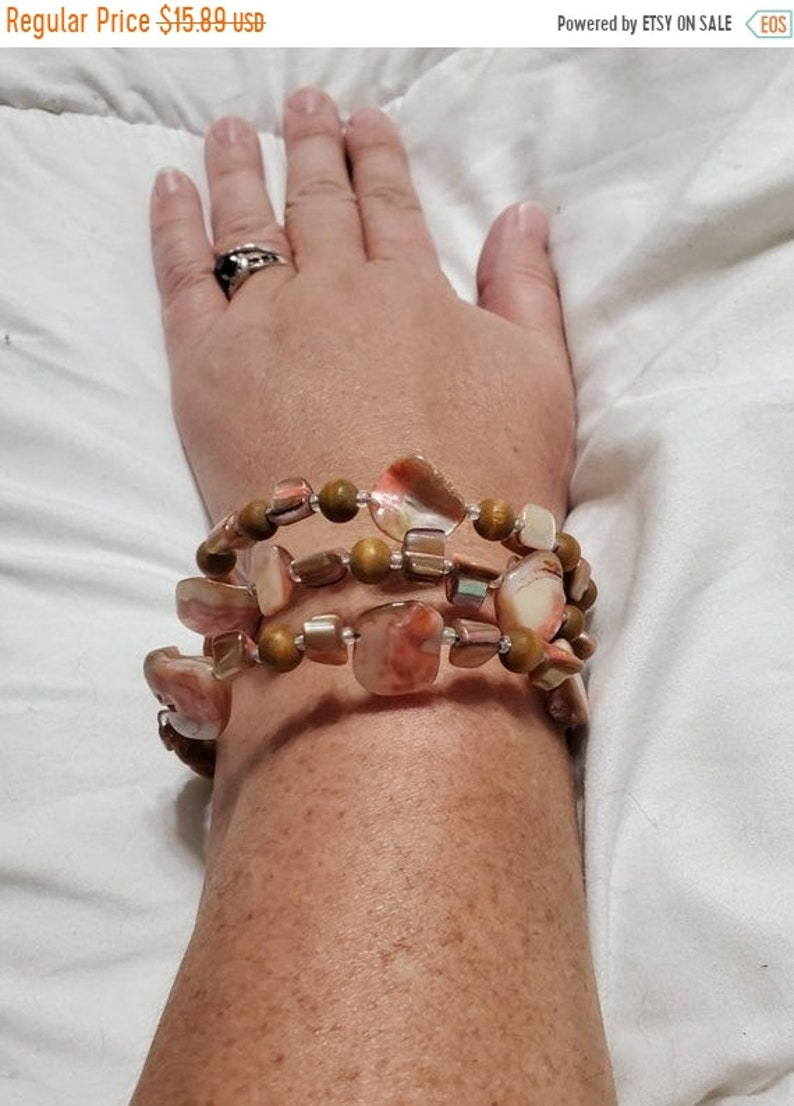 On Sale Peach and  Brown Shell Memory Wire  Beaded Cuff image 1