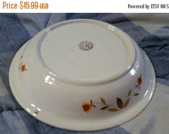 On Sale Mary Dunbar Collection Jewel Tea 9.75 inch Pie Plate 1950 Kitchen Yellow Plate with Orange and Gold Flowers