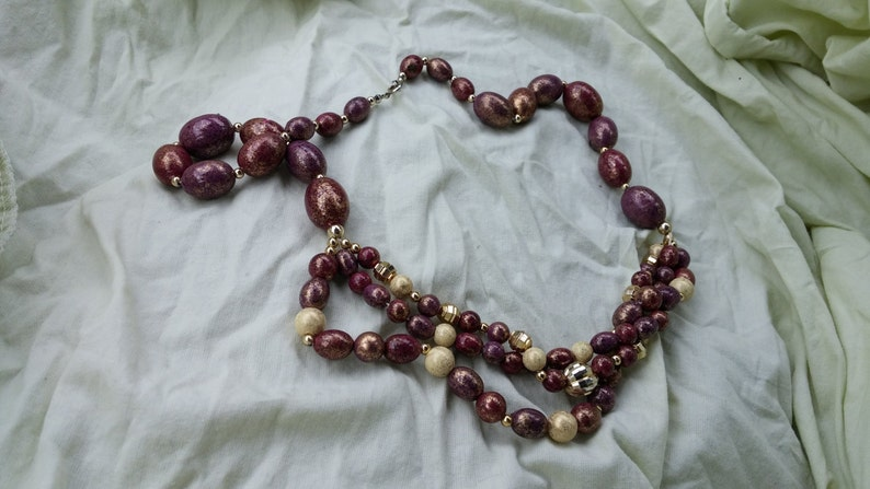 On Sale Inexpensive Triple Strand Wooden Brown PurpleBrown 26 inch Necklace Costume Jewelry