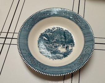 """On Sale Currier and Ives """"Early Winter"""" 8.25 inch Soup or Salad Serving Bowl by Royal China"""