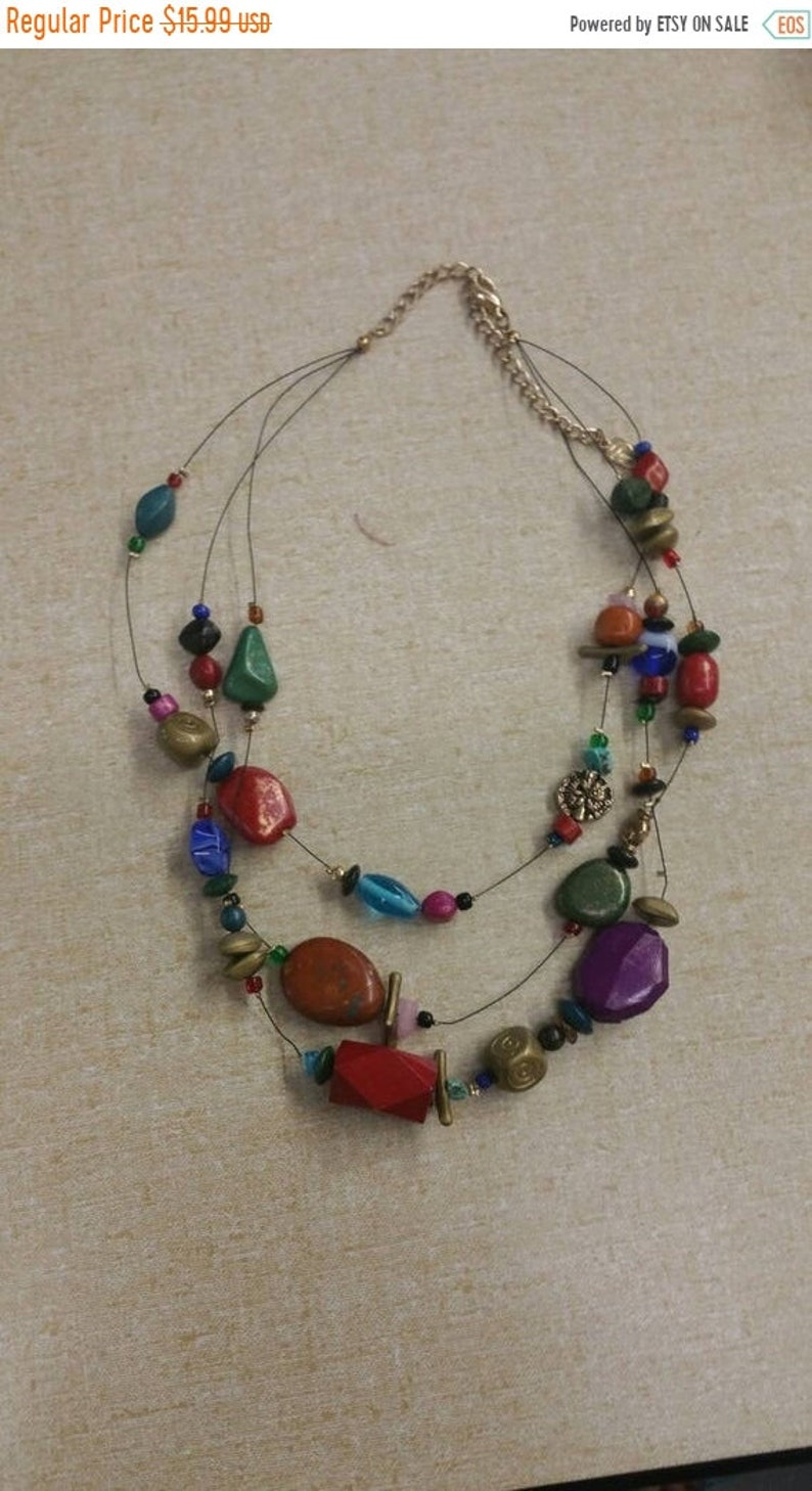 Fashion Accessory Triple Strand 18 inch Necklace Costume Jewelry Rainbow Plastic Beaded On Sale Memory Wire