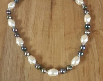 On Sale Collectible Bling Large Faux Pearl and Purple Glass  Beaded Necklace 18 inch Costume Jewelry Fashion Accessory