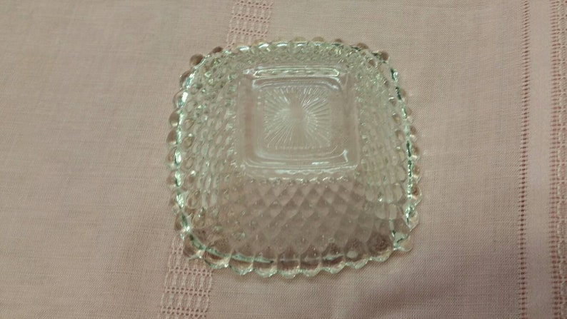 Bowl Ash Tray Indiana Glass with Diamond Point On Sale Depression Clear Glass Square Candy Dish