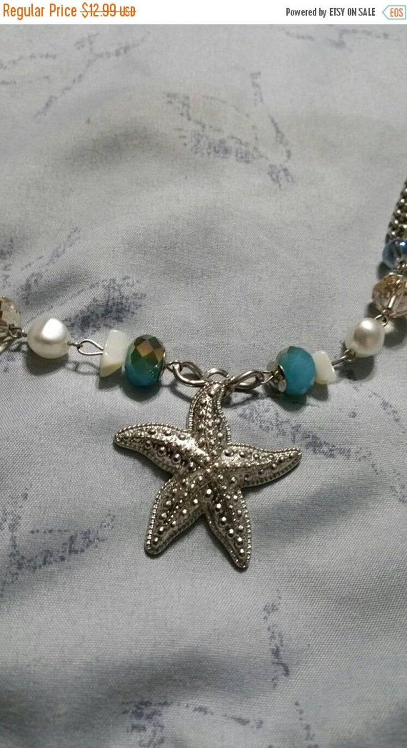 On Sale Blue Green and Turquoise Colored Bead Silver Toned Star Fish Charmed Chunky Bead 21 inch Choker Necklace Costume Jewelry Fashion Acc