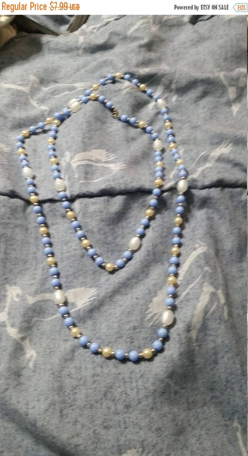On Sale Vintage Baby Blue and  White Plastic Beaded Necklace 54 Inch Fashion Accessory Faux Pearl Flapper Style