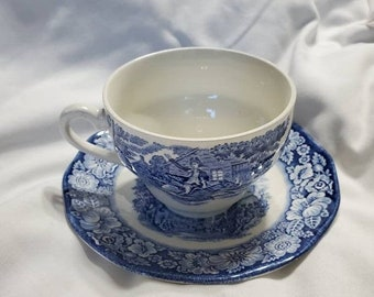 On Sale Liberty Blue, Tea Cup and Saucer, Historic Colonial Scenes, Staffordshire Ironstone, Old North Church, Made in England