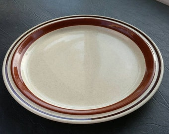 On Sale 1984 Hand Painted Contemporary Chateau 10 inch Round Dinner Plate Made in Japan Sienna Brown
