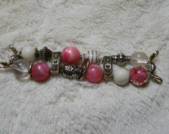 On Sale Jewelry Supply Pink and Silver Toned Colors Beaded Stretchable Watch Band Silver Toned