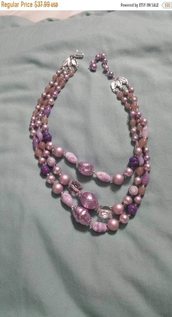 On Sale Memory Wire Purple Bead 3 Strand 18 inch Necklace Costume Jewelry Fashion Accessory