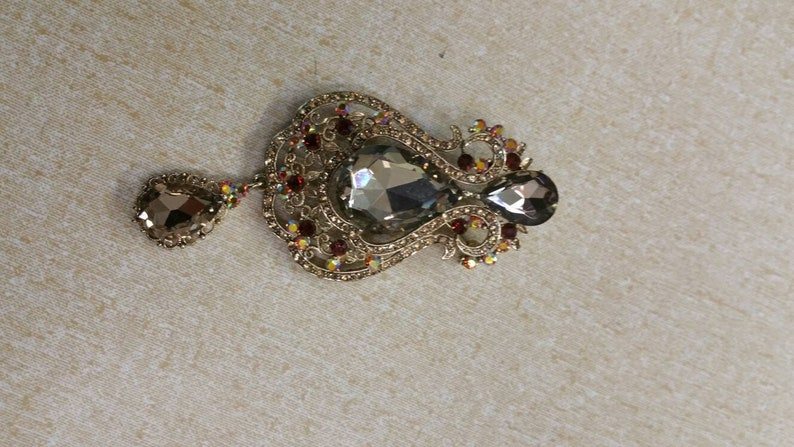 Fashion Accessory Tear Drop Large Pin or Brooch Costume Jewelry On Sale Gold Toned Yellow and Red Rhinestone