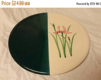 On Sale Aqua Blue and White with Pink Iris Handmade Baking Stone/ Tile/Trivet/Wall Hanging with Bob's Tile Bread Recipe on Back