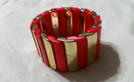 On Sale Plastic CranberryRuby Red and Brown Glass Expandable  Rectangular Bracelet Costume Jewelry Fashion Accessory