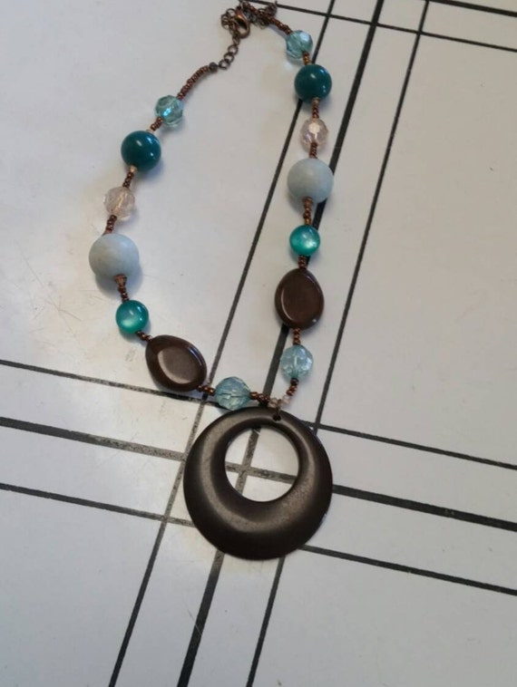 On Sale Collectible Bling Boho Style Turquoise and Brown Brass Toned Pendant Necklace