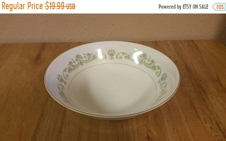 On Sale Style House Contessa Pattern  9 inch VegetablePasta Serving Bowl Made in Japan with Green Scrolls and Flowers Gold Rim