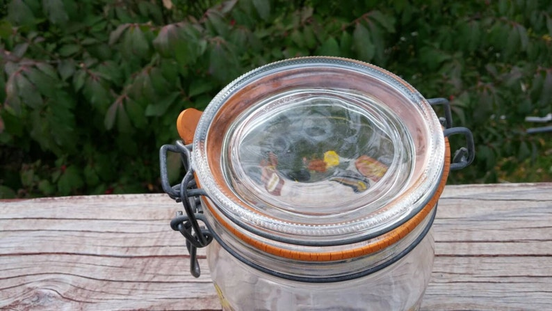 On Sale Made in France Arcoroc Retro Glass Kitchen Canister or Storage Bottle .75 Liter