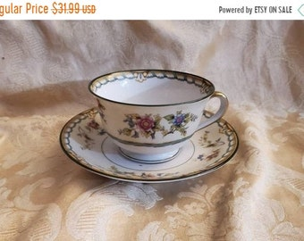 On Sale Rare Find, Noritake Pecos, 1931s, Footed Cup and Saucer, Multicolor Floral, Brown & Green Border, Antique China