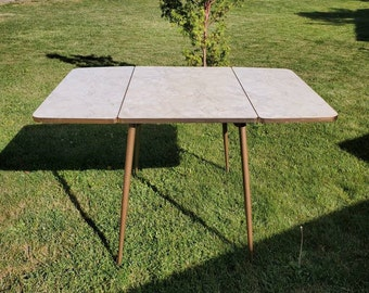 1950s, Chrome, Grecian Marble Style,  Brown, Gray and White Formica, Three Sided,  Folding Kitchen Table, Vintage Kitchen Tool