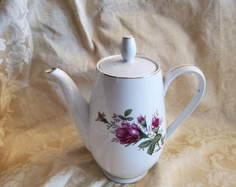 On Sale 6 Cup, Moss Rose Fine China, Jlmenau Tea or Coffee Pot, Made in China, Vintage Tea Serving Tool, Dark Pink Floral Design