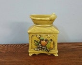 On Sale Rare Find, Lefton, Yellow Green, Coffee Grinder Design with Embossed Fruit, Wall Pocket or Flower Planter, Made in Japan