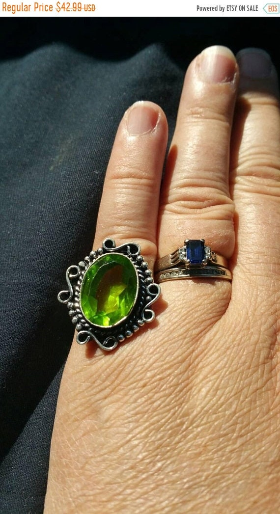 On Sale Peridot Ring German Silver Size 8 Ring Costume Jewelry Fashion Accessory Vintage Bling